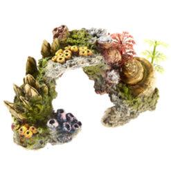 Đồ trang trí bể cá Classic Coral Stone with Plants Polyresin Aquarium Ornament