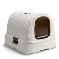 Khay vệ sinh cho mèo Curver Cream Rattan Covered Litter Tray