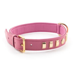 Vòng cổ cho chó Ancol Bull Terrier Dog Collar Pink Leather Rose Large