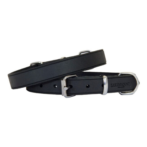 Vòng cổ cho chó Earthbound Soft Country Leather Black Dog Collar