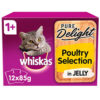 Thức ăn cho mèo Whiskas Pure Delight 1+ Adult Cat Food Pouch Poultry Collection in Jelly