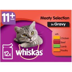 Thức ăn ướt cho mèo Whiskas 11+ Super Senior Cat Food Pouches Meaty Selection in Gravy